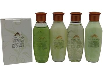 Sister Sky Sweet Grass Travel Set Shampoo Conditioner Lotion Body Wash & Soap