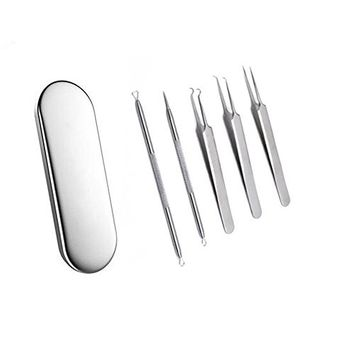 1 Set(5pcs) Premium Stainless Steel Professional Blackhead Remover Kit Acne Treatment for Fat Granule Comedone Pimple Extractor Nose Face Skin with Metal Case for Cystic Zit Blemish Whitehead Popping