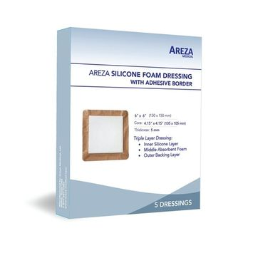 Silicone Foam Dressing with Border (Adhesive) Waterproof 6