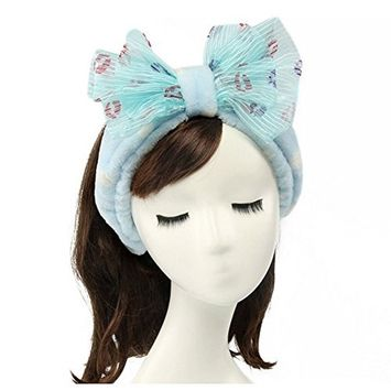 Shintop Women Fashion Lovely Soft Carol Fleece Bowknot Bow Makeup Cosmetic Shower Elastic Hair Band Hairlace Headband (Purple Stripe)