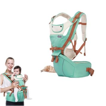 FLYMEI Multi-Position 360°Ergonomic Baby Carrier with Hip Seat for All Seasons,Convertible Airflow Baby Sling Holder, Baby Wrap for Newborn, Infant & Toddler, Mint Green