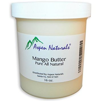 Mango Butter Pure Raw Unrefined - 16 Oz - All Natural Skin Moisturizer with Intensive Healing Properties - Unscented - Use for Body Butter, Lotions, Cream, Hair Products - Aspen Naturals Brand