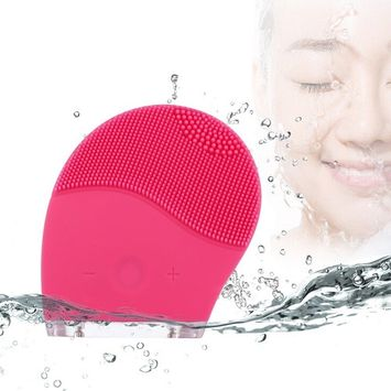 Sonic Facial Cleansing Brush, Cleanser & Massager Silicon Vibrating Waterproof Facial Cleansing System-Red