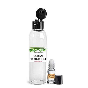 Cuban Tobacco Perfume Oil in a 2oz Bottle with a 5ml Glass Roller Bottle. A Premium Unisex Perfume Oil with Main Accords of Tobacco and Vanilla.