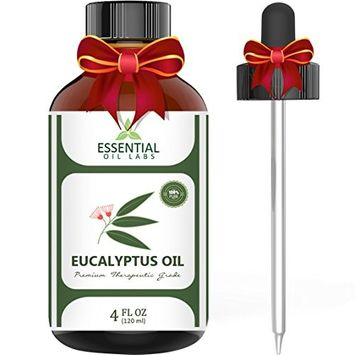 Eucalyptus Oil - Highest Quality Therapeutic Grade Backed by Research - Large 4 oz Bottle with Premium Dropper - 100% Pure and Natural by Essential Oil Labs