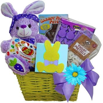 Art of Appreciation Gift Baskets Bunny Treats Chocolate and Candy Easter Basket, Purple [Purple]