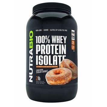 NutraBio 100% Whey Protein Isolate (Cinnamon Sugar Donut, 2 Pounds)