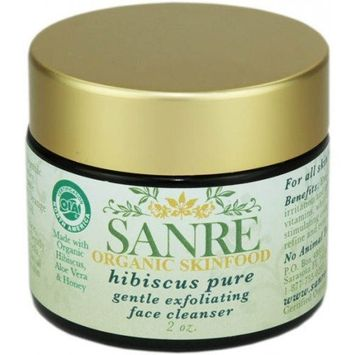 SanRe Organic Skinfood - Hibiscus Pure - USDA Made with Organic Gentle Exfoliating Face Cleanser For All Skin Types
