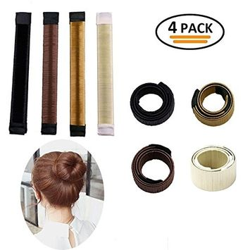 Okdeals Hair Bun Maker Donut Clip Shaper, Magic Former Foam French Twist, Hair Styling Making DIY Curler Roller Hairstyle Tools for Women Girls ,4 Pack