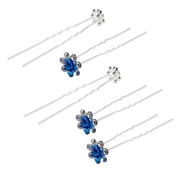 SODIAL 5 Pieces Rose Flower Decoration Rhinestones Hairpin Clip applicable in Bridesmaid Wedding Blue