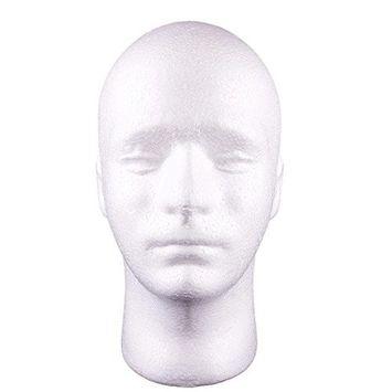 KeyZone Model Display Male Head Stand Wig Hats Holder Glasses Foam Mannequin