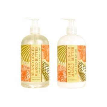 Greenwich Bay Trading Company Botanical Collection Bundle: Island Ginger Mango Butter - 16 Ounce Shea Butter Lotion & 16 Ounce Hand Soap