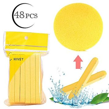 Facial Cleansing Sponge for Cleaning, 48 Pcs Compressed Face Round Makeup Puff Sponges Cleaning Stick Reusable Makeup Remover Pads, Portable Face Wash Pads Cosmetic Beauty Supplies for Face Cleanser