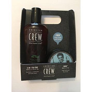 American Crew Set, Get the look , 3 in 1 tea tree shampoo 8.4 oz , fiber 3 oz , Free inside the box American Crew Paddle Brush