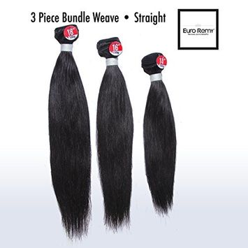 EURO REMY 9A+ Brazilian Virgin 100% Unprocessed Human Hair Extensions Weave - Straight - 3 Bundles (100 g/piece) - 10 12 14 inches - Natural Color