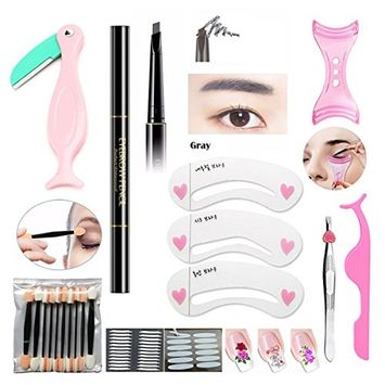 Eyebrow Pencil Beauty Set Eyebrow Trimmer Brow Tweezers False Eyelash Curler 3 Pcs Stencil Card Magic Lift Double Eyelid Sticker 10Pcs Eyeshadow Applicator Sponge 4 Sheets Cool Nail Decal