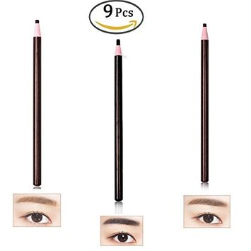 9Pc/Pack Waterproof Paint Eyebrow Pencil Kit Makeup Eye Liner Brow Pencil Pen Long Lasting Eyebrow Enhancer Women Makeup Tool (3 Black+ 3 Coffee 3 Deep Coffee)