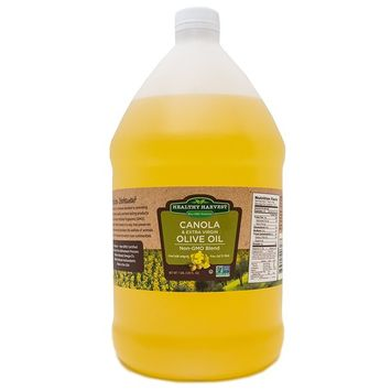 Healthy Harvest Canola and Extra Virgin Olive Oil Blend - Non-GMO Certified with Antioxidents and Omega-3s (One Gallon - 128oz.)