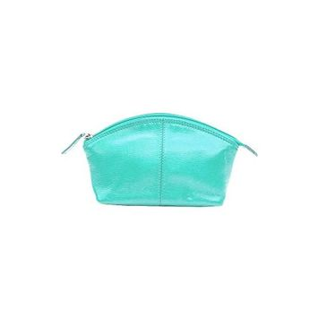 CCFW Womens 100%m Genuine Leather Cosmetic Pouch (Turquoise)