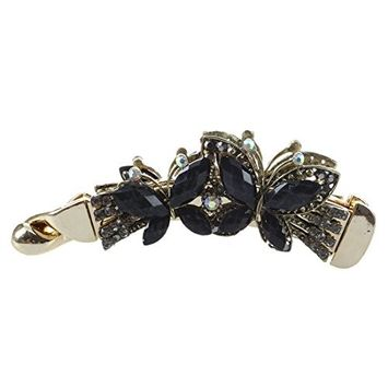 SODIAL(R) Women Banana Hair Clip Accessories Butterfly Black Resin Chic 108x31mm
