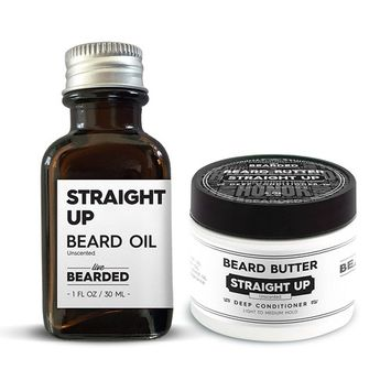 Unscented Beard Oil Kit   Live Bearded Made in USA  Straight Up Unscented Mens Beard Oil Kit [Unscented - Straight Up]