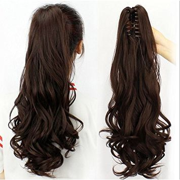 TheFashionWay 24'' Long Thick Claw Jaw Ponytail Big Wave Clip in Natural Looking Pony Tail Hair Extensions