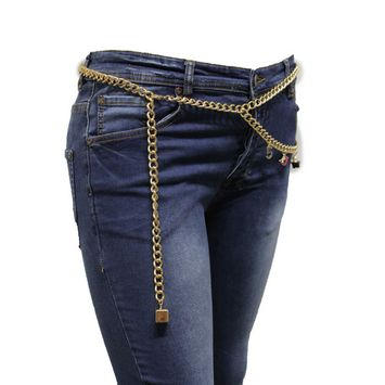 Women Fashion Chic Belt Gold Metal Chain Links Hip Eiffel #5 Bag Flower M L XL