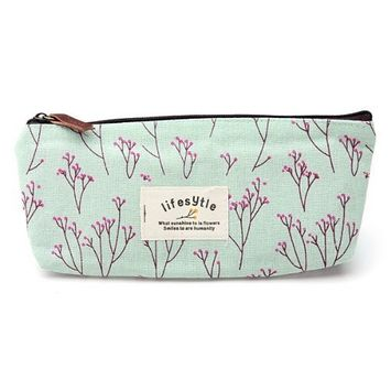 SODIAL(R) Countryside Flower Floral Pencil Pen Case Cosmetic Makeup Bag