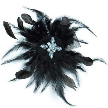 Wispy Feather with Tulle Brooch Pin Hair Clip - Black