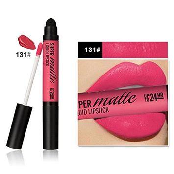 Double-end Long Lasting Lipstick Waterproof Matte Liquid Gloss Lip Liner Sponge Head (E)