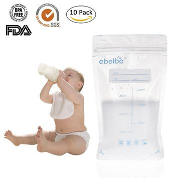 Pueri 200ml Breastmilk Storage Bags Disposable Milk Storage Bag With Convenient Pour Spout and Double Zipper Seal Ideal for Storing and Freezing Breastmilk, 10 Count