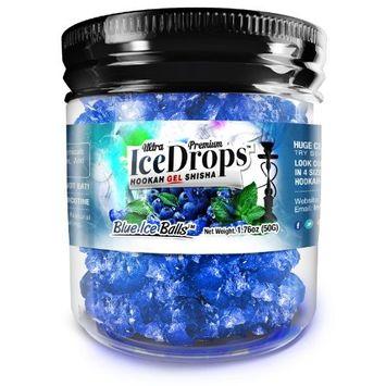 Blue Ice Balls 50G Ultra Premium Beamer Ice Drops Hookah Shisha Smoking Gel. Each bowl lasts 2-4 Hours! USA Made, Huge Clouds, Amazing Taste! Better Taste & Clouds than Tobacco!