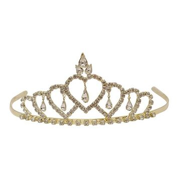 Futuron Girls Gold Sparkle Rhinestone Heart Shape Tiara Headpiece