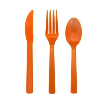 Party Essentials Hard Plastic Cutlery Combo Pack, 51 Pieces/17 Place Settings, Neon Orange