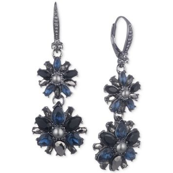 Imitation Pearl & Crystal Cluster Double Drop Earrings