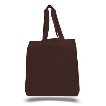 TBF - (3 Pack) Set of 3 High Quality Cotton Tote Bags Wholesale with Bottom Gusset (Chocolate) [name: actual_color value: actual_color-chocolate]