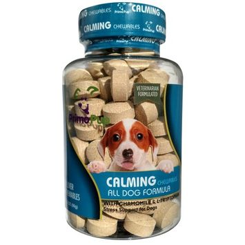 Primo Pup Vet Health - CALMING CHEWABLES - Stress Support for Dogs with Chamomile & L-Tryptophan ? Veterinarian Developed for Easy Digestion and Maximum Absorption - 90 Count