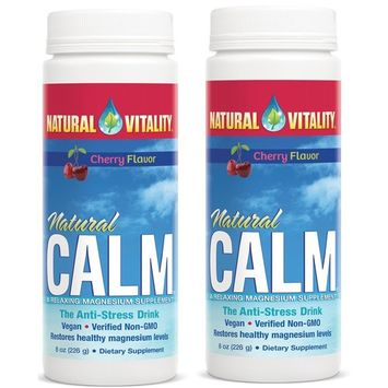 Natural Vitality Natural Magnesium Calm, Cherry (2 Bottles of 8 Ounce)