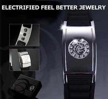 Electrified.com ELECTRIFIED FEEL BETTER EJNP-D001 Silicone & Steel Bracelet w 12 Zircon Stones