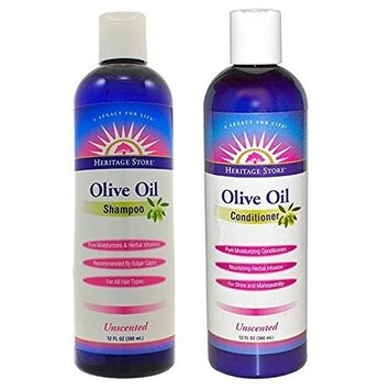 Heritage Unscented Olive Oil Conditioner (Pack of 2) With Aloe Leaf, Vitamin B5, Rosemary, Yarrow, Sage, Nettle, Lemon Grass, Vitamin E and Olive Oil, 12 oz. each.