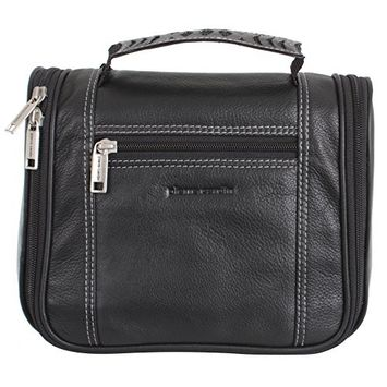 Pierre Cardin 100% Leather Hanging Travel Washbag Toiletry Bag - Black