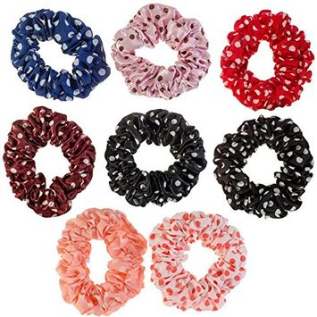 Hairstyling Accessories and Decorations Set / Kit / Lot of 8pcs Hair Scrunchies / Rubber Bands / Hairbands / Bobbles / Elastics / Ponytails Holders / Ties In Different Colors