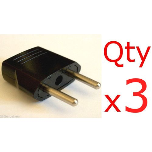 3 Pack of North American US USA to EU European Adapters Plug Charger Converters