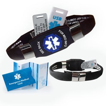 ELITE USB PLUS Medical Alert ID Bracelet and 2GB USB. Custom Engraved! Waterproof!