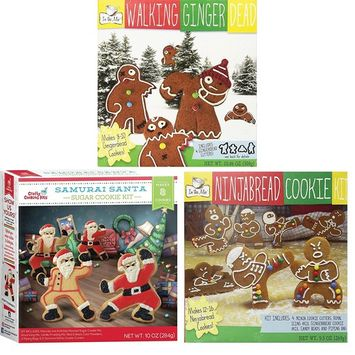 Walking Gingerdead, Ninjabread, and Samurai Santa Christmas Cookie Mix Kits with Cookie Cutters (3 pack)