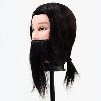 Neverland Beauty 14Inch 80% Real Hair Beard Hairdressing Training Man Mustache Style Head Mannequin with Clamp #2