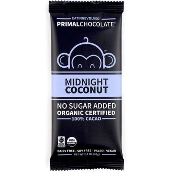 Eating Evolved, PrimalChocolate, Midnight Coconut 100% Cacao, 2.3 oz (65 g) [Flavor : Midnight Coconut 100% Cacao]