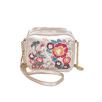 Women Asia Inspired Lovely Rectangular Fashion Flower Stitch Clutch