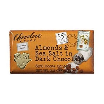 Chocolove Almond & Sea Salt Dark Chocolate Bar 12 Count by The Nutty Fruit House