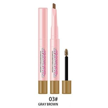 Eyebrow Pencil with Brow Brush,lotus.flower Double Head Eyebrow Pencil Mascara Eye Shadow Sweatproof Convenient And Quick Makeup